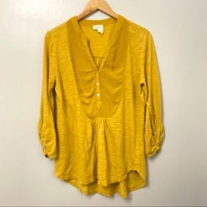 Anthropologie Meadow Rue Mustard Tunic Top M